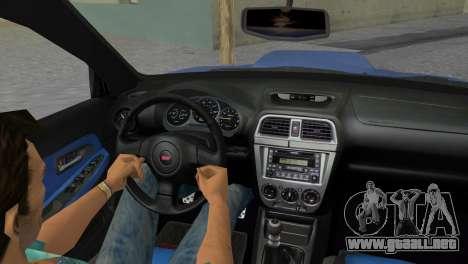 Subaru Impreza WRX STI 2005 para GTA Vice City vista interior