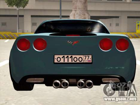 Chevrolet Corvette Grand Sport para GTA San Andreas vista hacia atrás