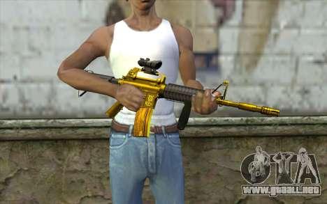 Golden M4 con una vista para GTA San Andreas tercera pantalla