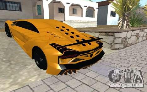 GTA 5 Zentorno para GTA San Andreas vista posterior izquierda