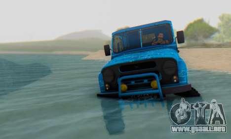 UAZ 469 Blue Star para GTA San Andreas vista hacia atrás