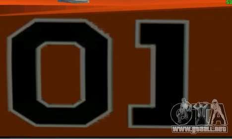 Dodge Charger General lee para GTA San Andreas vista hacia atrás