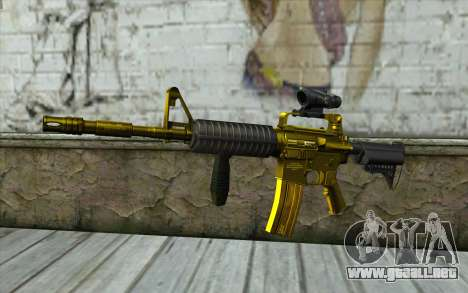 Golden M4 con una vista para GTA San Andreas
