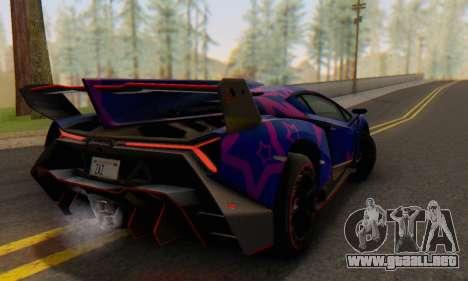 Lamborghini LP750-4 2013 Veneno Blue Star para vista lateral GTA San Andreas
