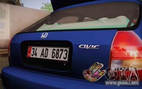 Honda Civic 1.4 BS Garage para GTA San Andreas vista posterior izquierda