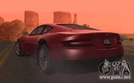 Aston Martin DBR9 para GTA San Andreas vista hacia atrás