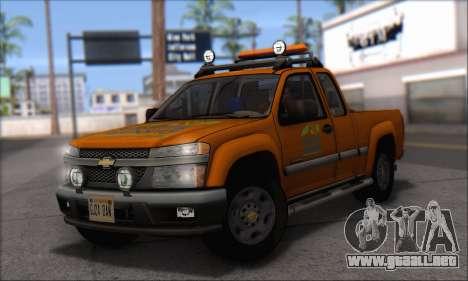Chevrolet Colorado Cleaning para GTA San Andreas vista posterior izquierda
