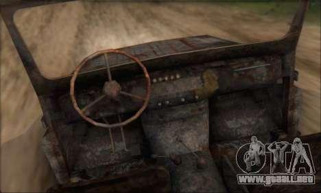 Quemado UAZ 469 para la visión correcta GTA San Andreas