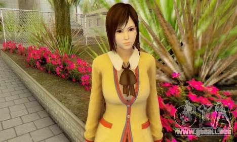 Kokoro wearing a school uniform (DOA5) para GTA San Andreas tercera pantalla