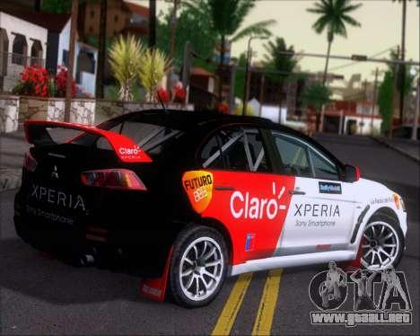 Mitsubushi Lancer Evolution Rally Team Claro para la visión correcta GTA San Andreas