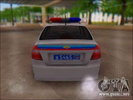 Chevrolet Aveo Policía LNR para visión interna GTA San Andreas