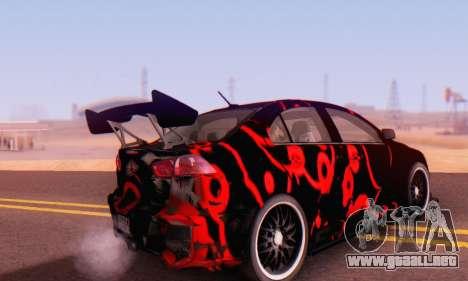 Mitsubishi Lancer EVO X Abstraction para GTA San Andreas vista posterior izquierda