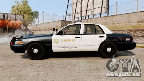 Ford Crown Victoria Sheriff [ELS] Marked para GTA 4 left