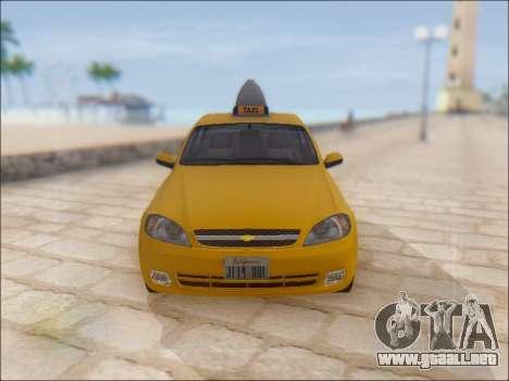 Chevrolet Lacetti Taxi para vista lateral GTA San Andreas
