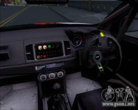 Mitsubushi Lancer Evolution Rally Team Claro para GTA San Andreas interior