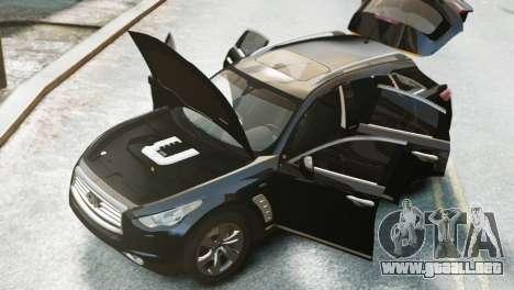 Infiniti FX50S v1.0 para GTA 4 Vista posterior izquierda