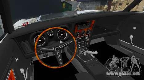Ford Mustang Mach 1 1973 v3.0 GCUCPSpec Edit para GTA 4 vista hacia atrás