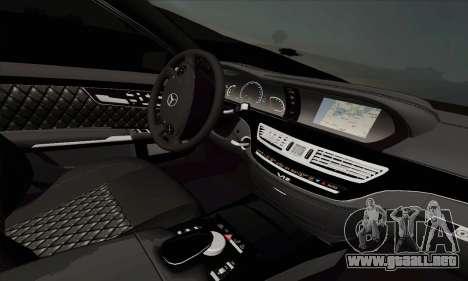 Mercedes-Benz S600 W221 2012 para GTA San Andreas vista posterior izquierda
