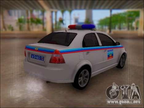 Chevrolet Aveo Policía LNR para la visión correcta GTA San Andreas