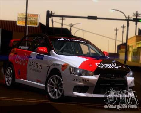 Mitsubushi Lancer Evolution Rally Team Claro para visión interna GTA San Andreas