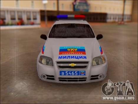 Chevrolet Aveo Policía LNR para GTA San Andreas vista hacia atrás