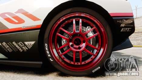 Pagani Zonda C12S Roadster 2001 v1.1 PJ4 para GTA 4 vista hacia atrás