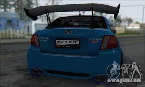 Subaru Impreza WRX STI 2010 para visión interna GTA San Andreas