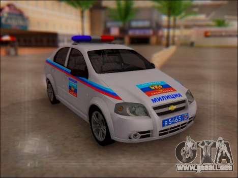 Chevrolet Aveo Policía LNR para GTA San Andreas