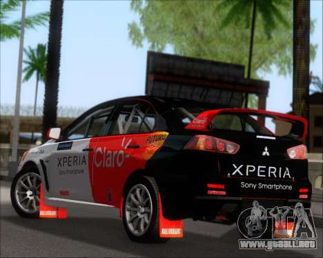 Mitsubushi Lancer Evolution Rally Team Claro para GTA San Andreas vista posterior izquierda
