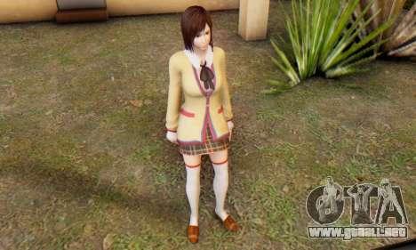 Kokoro wearing a school uniform (DOA5) para GTA San Andreas sexta pantalla