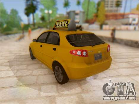 Chevrolet Lacetti Taxi para GTA San Andreas vista posterior izquierda