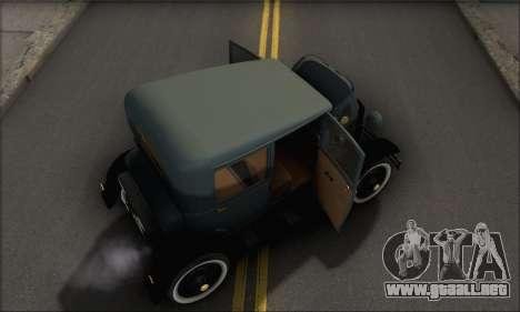 Ford T 1927 para vista lateral GTA San Andreas