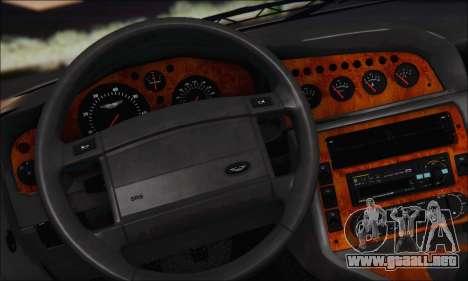 Aston Martin V8 Vantage V600 1998 para visión interna GTA San Andreas