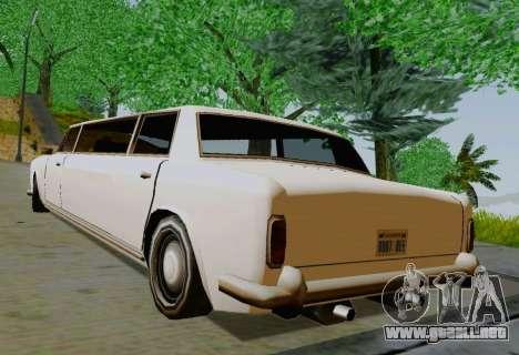 Stafford Limousine para GTA San Andreas vista posterior izquierda