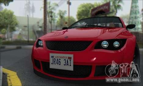 La superioridad Sentinel XS para GTA San Andreas vista posterior izquierda