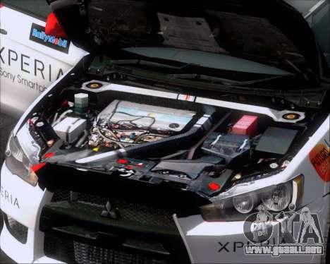 Mitsubushi Lancer Evolution Rally Team Claro para vista inferior GTA San Andreas