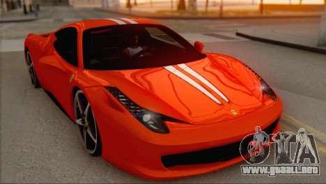 Ferrari 458 Italia para vista inferior GTA San Andreas