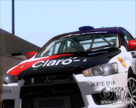 Mitsubushi Lancer Evolution Rally Team Claro para GTA San Andreas vista hacia atrás