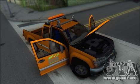 Chevrolet Colorado Cleaning para vista inferior GTA San Andreas