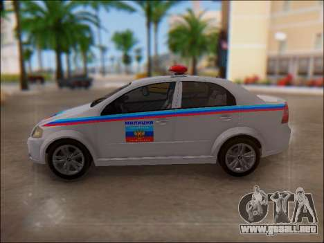 Chevrolet Aveo Policía LNR para la vista superior GTA San Andreas