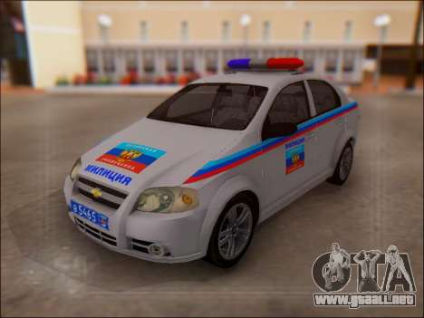Chevrolet Aveo Policía LNR para GTA San Andreas vista posterior izquierda