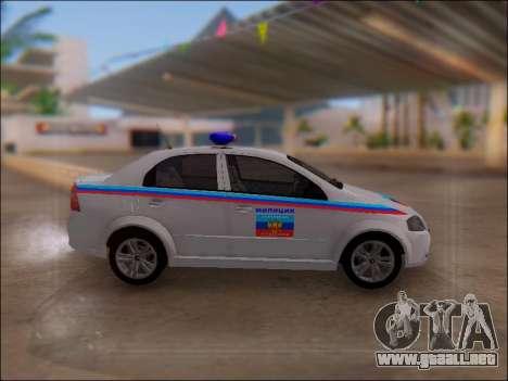 Chevrolet Aveo Policía LNR para GTA San Andreas left