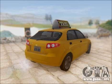 Chevrolet Lacetti Taxi para GTA San Andreas vista hacia atrás