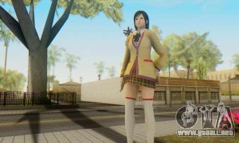Kokoro wearing a school uniform (DOA5) para GTA San Andreas sucesivamente de pantalla