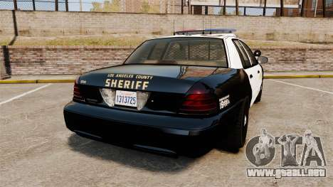 Ford Crown Victoria Sheriff [ELS] Marked para GTA 4 Vista posterior izquierda