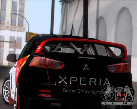 Mitsubushi Lancer Evolution Rally Team Claro para las ruedas de GTA San Andreas