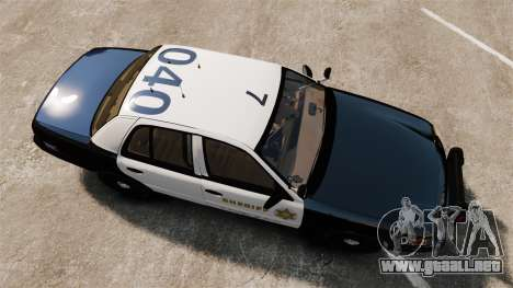 Ford Crown Victoria Sheriff [ELS] Slicktop para GTA 4 visión correcta