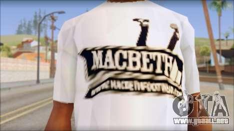 Macbeth T-Shirt para GTA San Andreas tercera pantalla