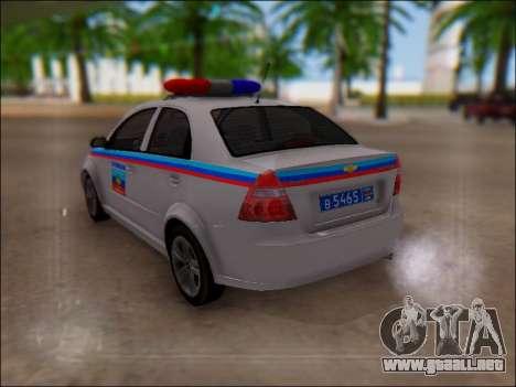 Chevrolet Aveo Policía LNR para vista lateral GTA San Andreas