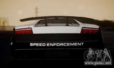 Lamborghini Gallardo LP 570-4 2011 Police v2 para GTA San Andreas vista posterior izquierda